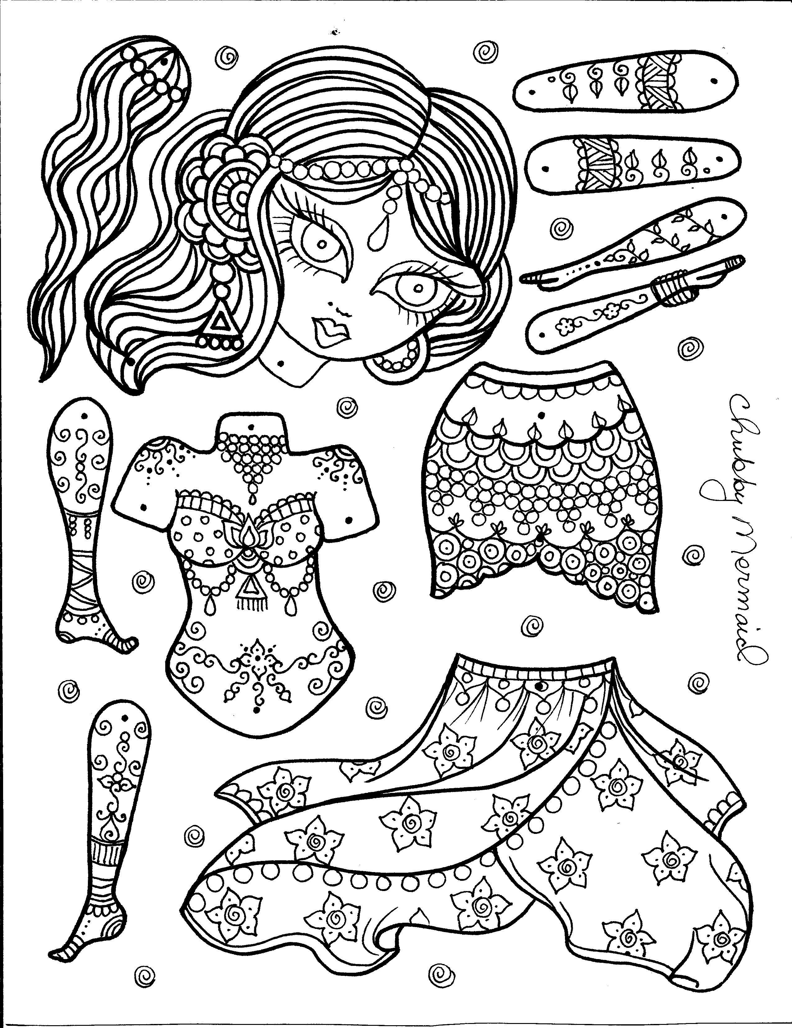 Belly Dancer Paper Doll Art You Color