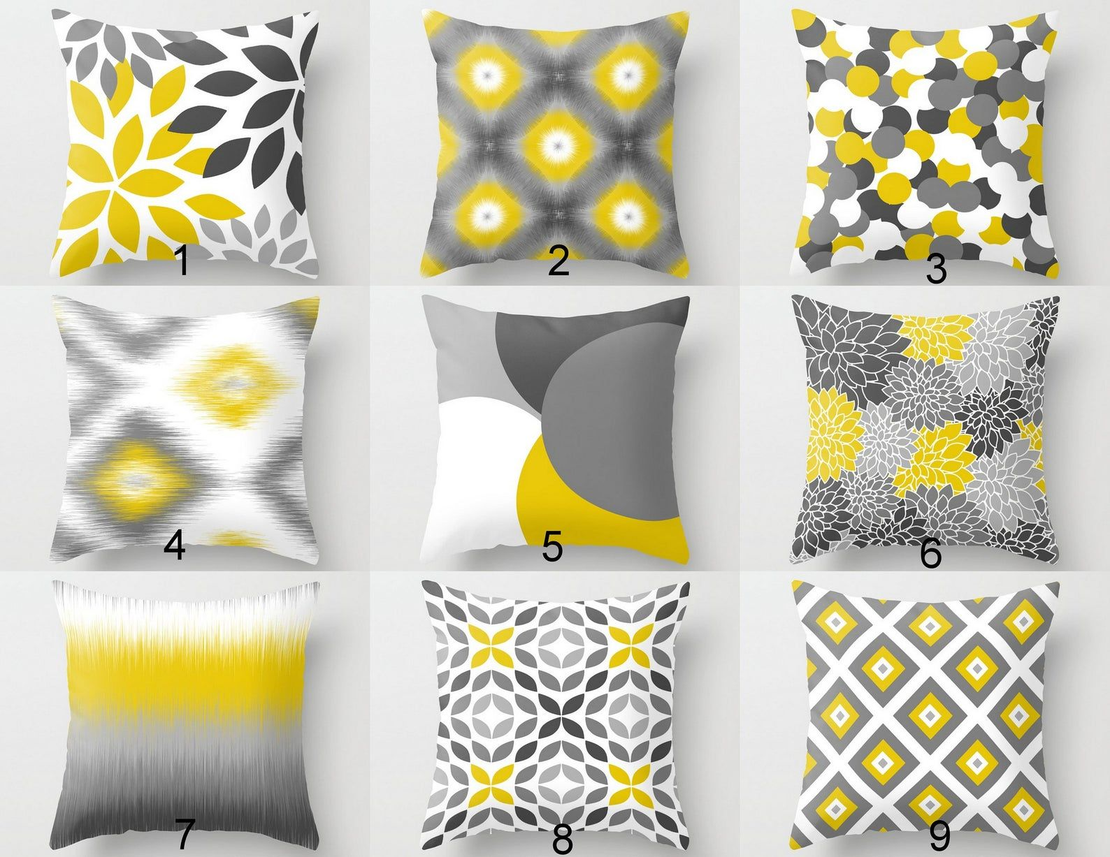 Throw Pillow Covers Yellow Grey White Couch Cushion Covers Etsy