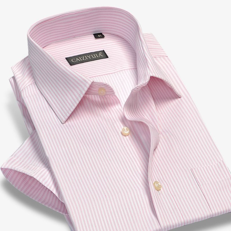 3a1bec290c5b Bamboo Striped Shirt Men Short Sleeve Dress Shirts Brand Fashion Formal  Business Male Casual Shirt Plus Size High Quality