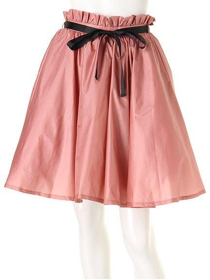 配色リボンふんわりミニスカート