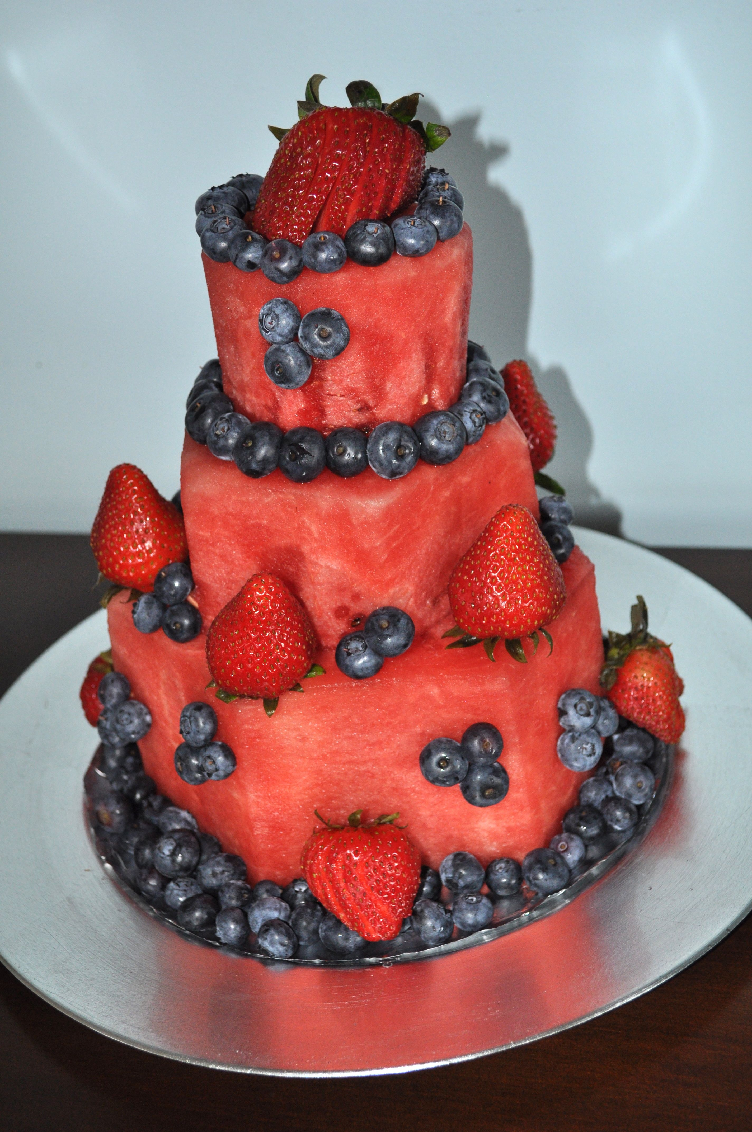 Birthday Cake Made Of Watermelon Decorated With