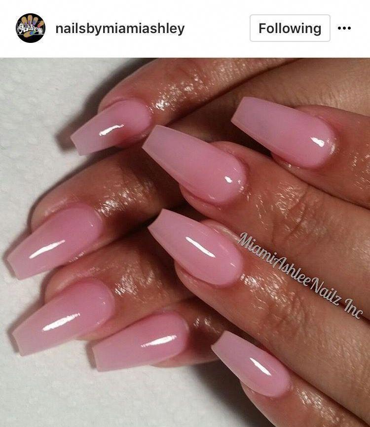 Nailideas Coffinnails Pink Toe Nails Pink Gel Nails Clear Acrylic Nails