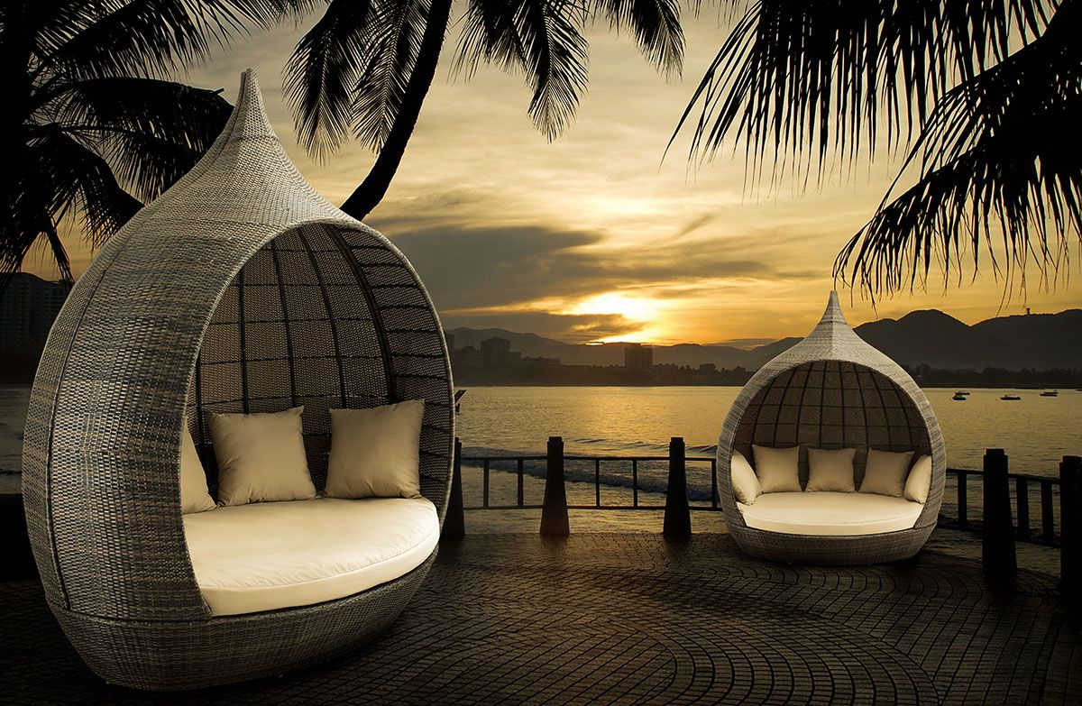 martinique beach daybed outdoor patio furniture round teardrop enclosed wicker synthetic bed