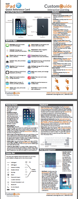 free ipad ios7 cheat sheet http www customguide com cheat sheets rh pinterest com Quick Reference Card Template Quick Reference Guide Design Templates