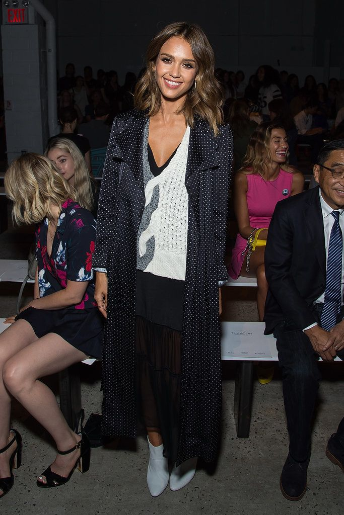 Celebrities Front Row at New York Fashion Week Spring 2016 | POPSUGAR Fashion.  Jessica Alba The star was comfy-chic at Thakoon, draping a duster over a sweater and sheer bottom.