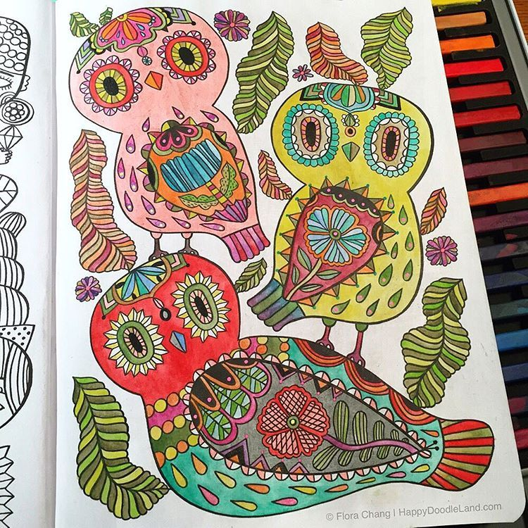 Amazon Posh Adult Coloring Book Happy Doodles For Fun Relaxation Flora Chang Books 0050837352469