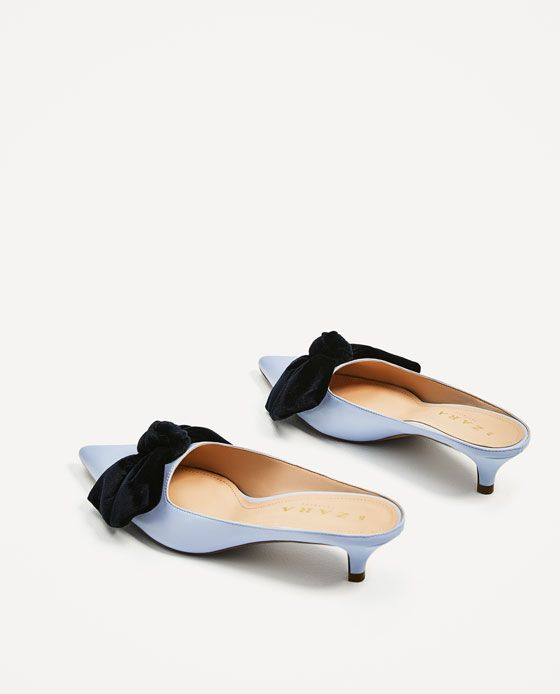 Image 6 Of Heeled Mules With Bow From Zara Tacones Botas Zapatos Zapatos