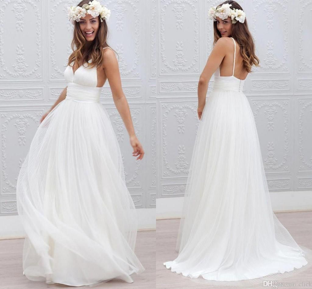 new bohemian beach wedding dresses cheap spaghetti backless a
