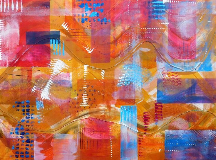 Fiesta Abstract Original Acrylic Painting 35 x 35 Stretched Canvas | Sell my art, Painting, Art