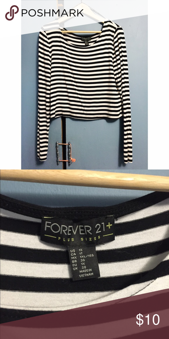 Plus Size Forever 21 striped crop top Size 1x, soft cotton, very cute and never worn Forever 21 Tops Tees - Long Sleeve