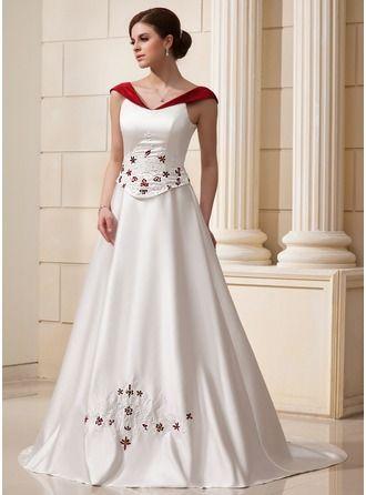 c8c050e77 Corte A Princesa Hombros caídos Cola capilla Satén Vestido de novia con  Bordado…