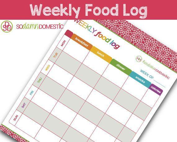 Etsy - Weekly Food Log / Diet Diary - Printable Planner - Letter