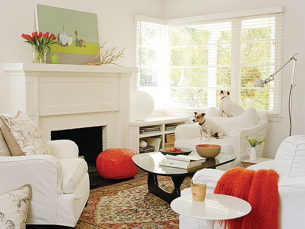 E Up An All White Living Room With Tangerine Accents A Moroccan Floor Cushion
