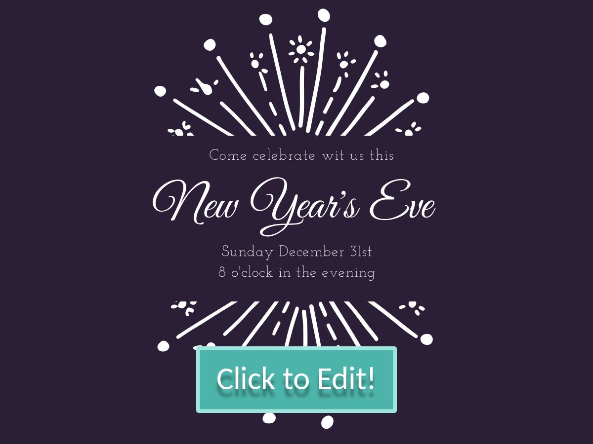 White Firework on a customizable New Year party invitation for a ...