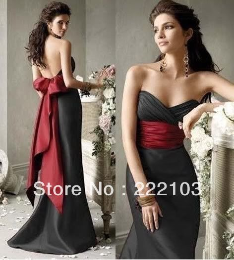 2013 New Long Black&Red Bridesmaid Dress Evening Gown Prom Dress size 6 8 10 12 14 16 Stock&Custom $78.00 - 88.00