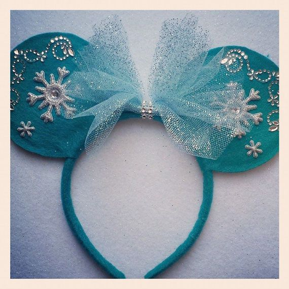 DISNEY FROZEN ELSA Custom made Minnie Mouse Ears. One of kind, you will not find these through Disney.