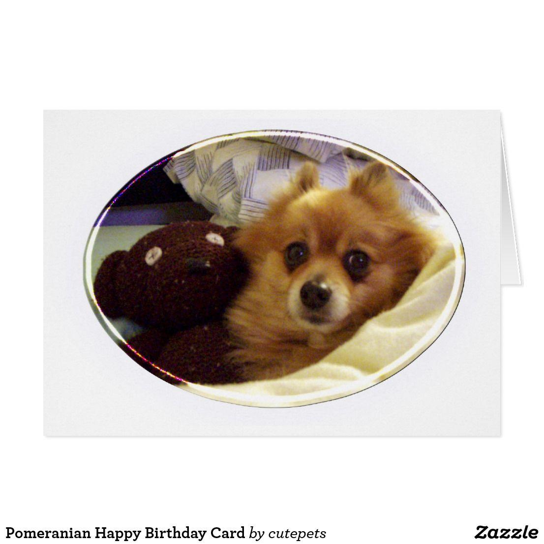 Pomeranian Happy Birthday Card Cards Greeting Card Art On Zazzle