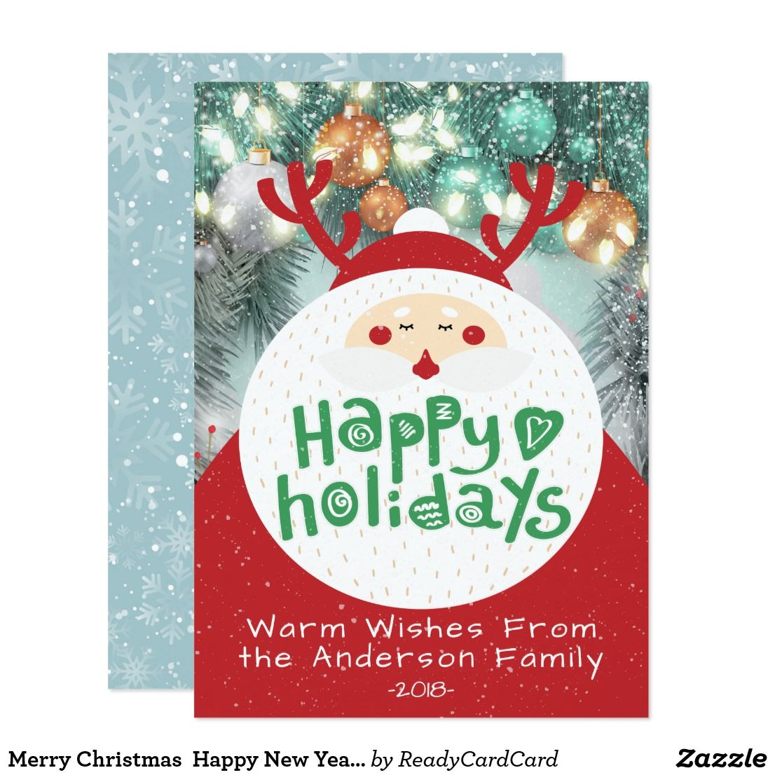 Merry Christmas Happy New Year Holiday Greetings Card Holiday