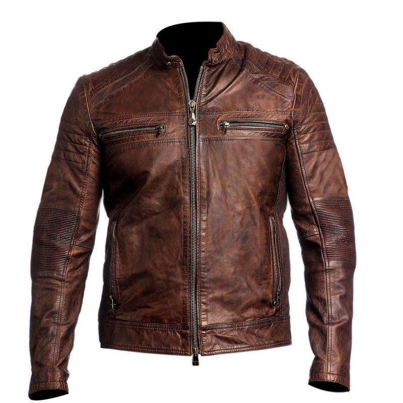 Mens Biker Vintage Motorcycle Cafe Racer Brown Distressed Leather ...