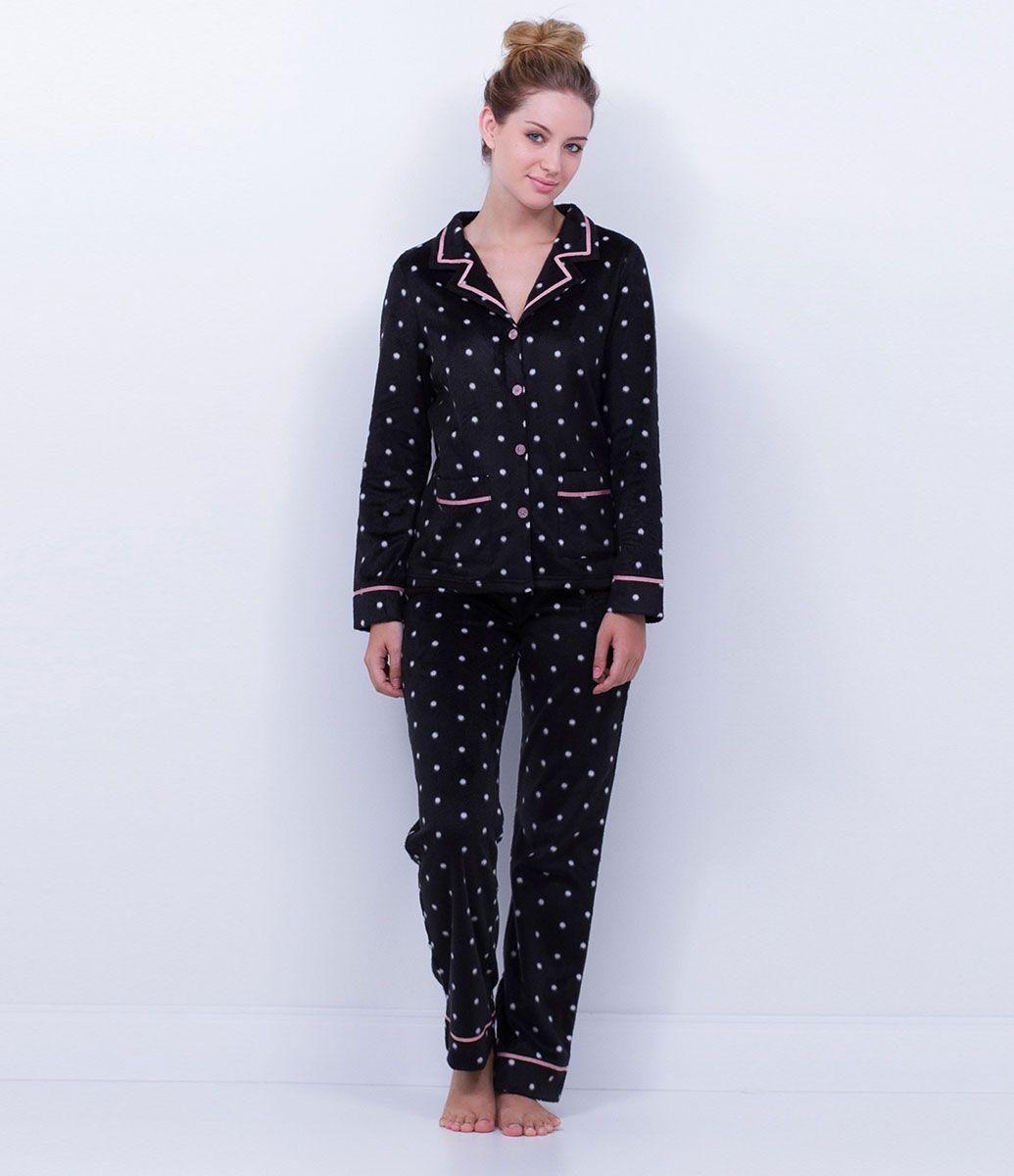 5a7f77785 Pijama feminino Manga longa Estampado Com abertura frontal Marca: Lov  Tecido: Fleece Composição: