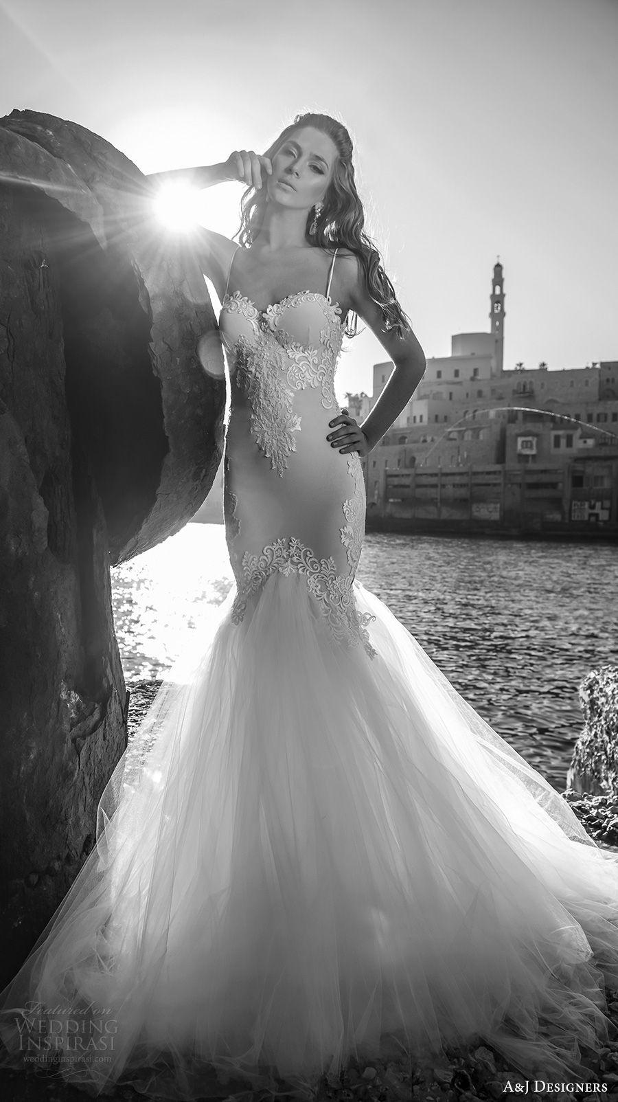 julie vino a j designers bridal s2017 sleeveless spagetti strap heavily embellished bodice tulle skirt sexy mermaid wedding dress open low back sweep train (aj106) mv