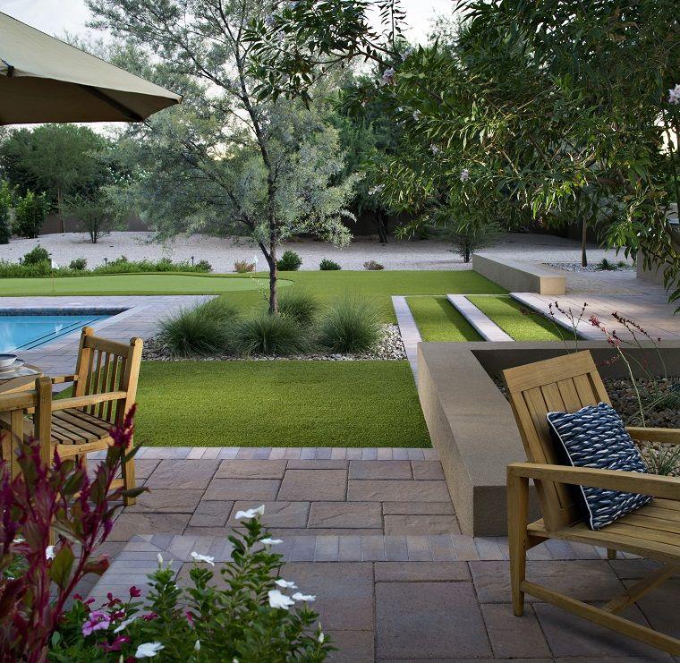 Conosciuto Giardini idee da copiare, prato verde e piscina, mobili di legno IY83