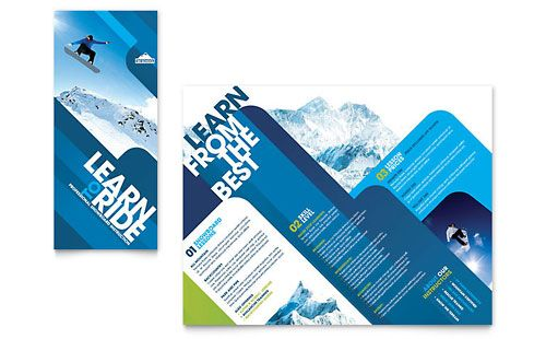 Ski \ Snowboard Instructor - Tri Fold Brochure Template Design - free tri fold brochure templates word