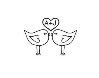 Cute Love Birds Kissing Custom Rubber Stamp Lovebirds Heart With