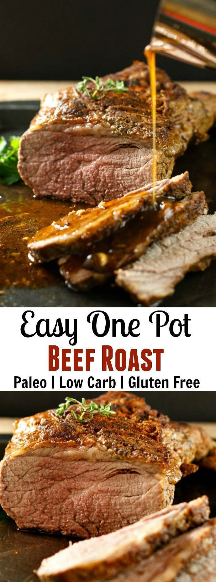 Easy One Pot Beef Roast with Wine Sauce- Low Carb Paleo-