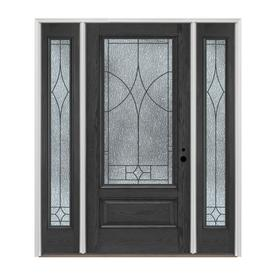 Pella 3 4 Lite Decorative Gl Left Hand Inswing Charcoal Fibergl Prehung Entry Door With Sidelights And Insulating