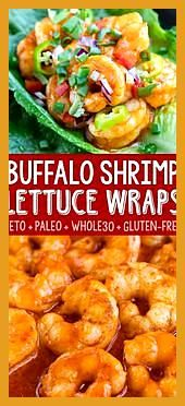 Buffalo Shrimp Lettuce Wrap Tacos #buffaloshrimp