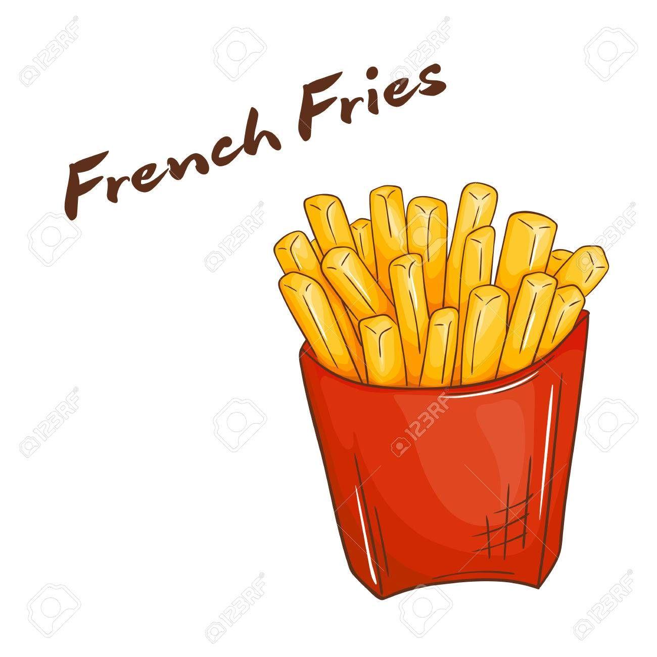 Vector Illustration Of Isolated Cartoon Hand Drawn Fast Food French Fries Ad Cartoon Hand Isolated Vector Il Makanan Makanan Dan Minuman Kentang