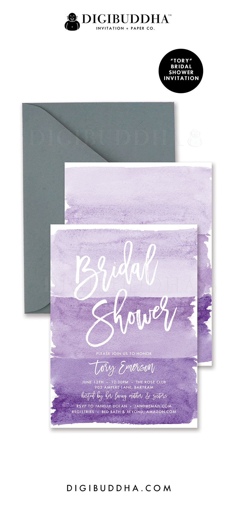 purple bridal shower invitations in ombre shades of soft pastel lilac lavender grape purple and deeper violet tory style watercolor details with hand