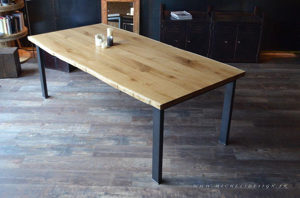 """table de repas """"Ésa"""" bois/acier réalisée à la demande et sur"""