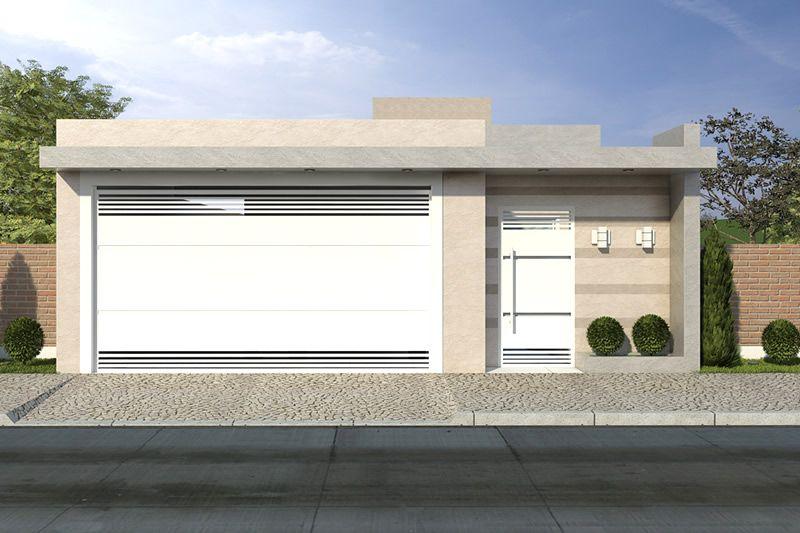 Fachada de casa bege fachada casa pinterest custos for Modelos de casas modernas economicas