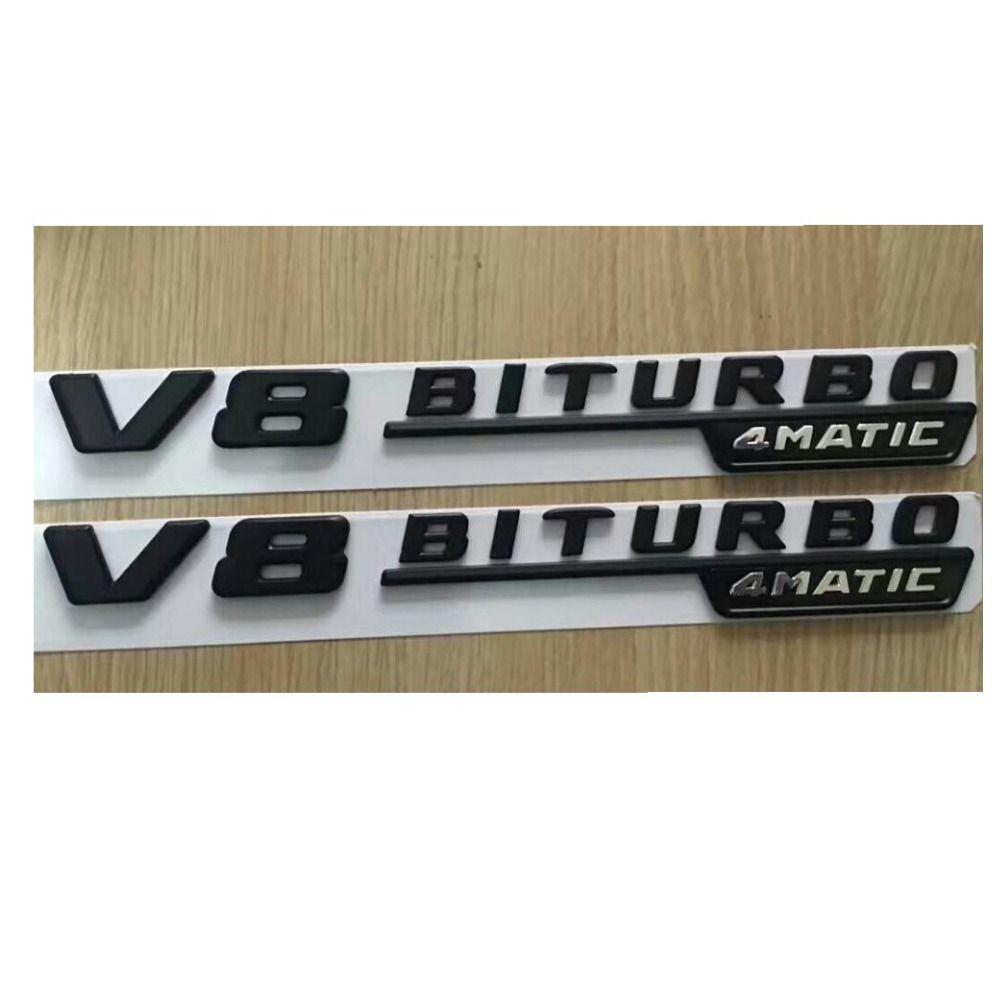 1 pair BITURBO 4MATIC Letters Trunk Badge Emblem Sticker for Mercedes-Benz AMG
