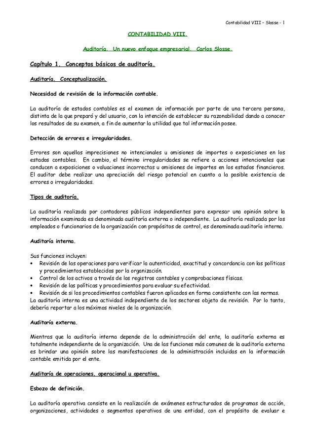 Contabilidad VIII – Slosse - 1 CONTABILIDAD VIII. Auditoría. Un ...