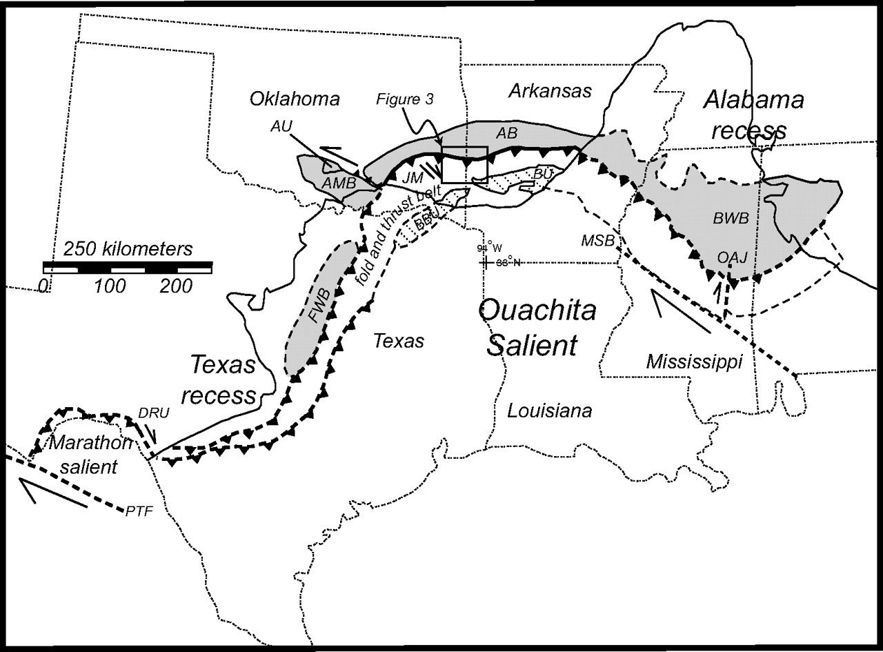 Tectonic map of the Ouachita salient showing zones of