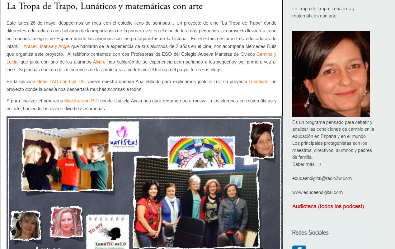 http://educaendigital.radio3w.com/la-tropa-de-trapo-lunaticos-y-matematicas-con-arte/