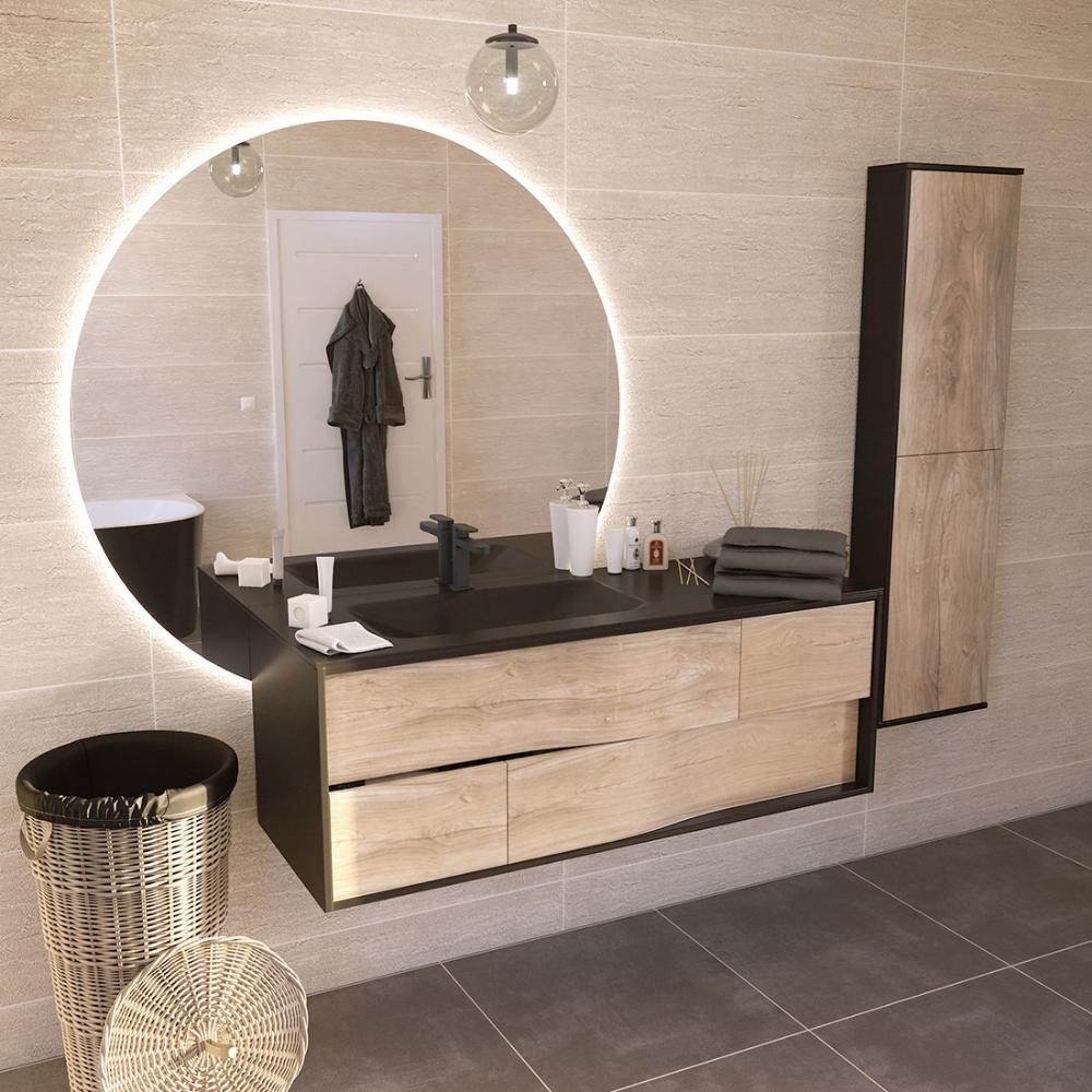 Un Miroir Rond Retro Eclaire Pour La Salle De Bain Salle De