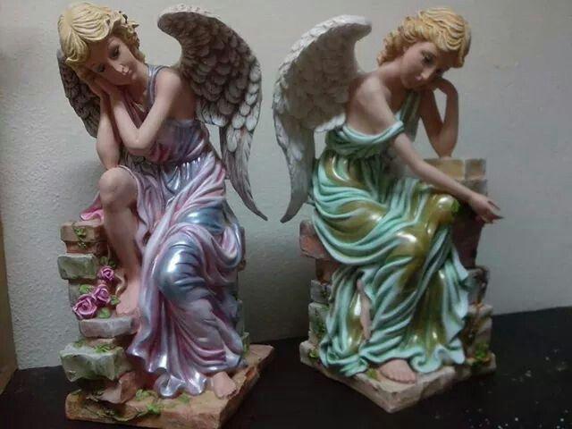 Bellos angeles ceramic pinterest angeles decoupage - Angelitos de yeso ...