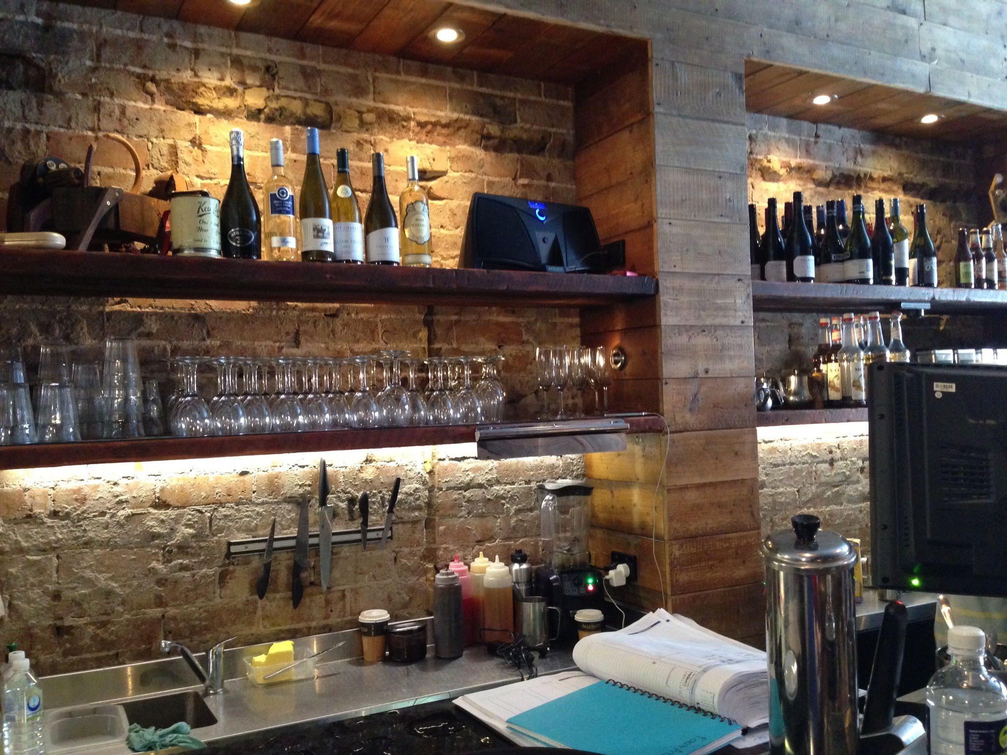 Wood and brick bar back | New Home | Pinterest | Bricks, Bar and Woods