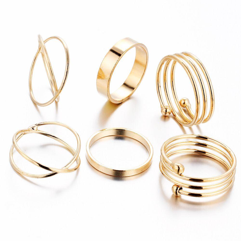 Composito 6 Pz/set Corea Hot Personalità Retro Della Lega Dell'anello della Punta Placcato Oro Ring Joint Piede Ornamenti Bijoux Bagues Femme Anillo