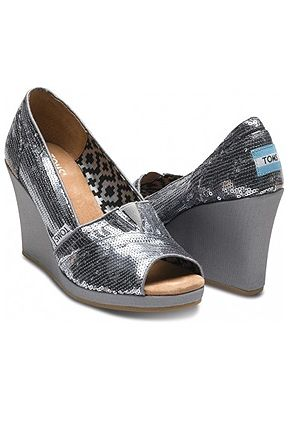 7924fdc91264 Available at ADANIAS Boutique in all sizes. Pewter Sequins Wedges Toms Shoes  $89