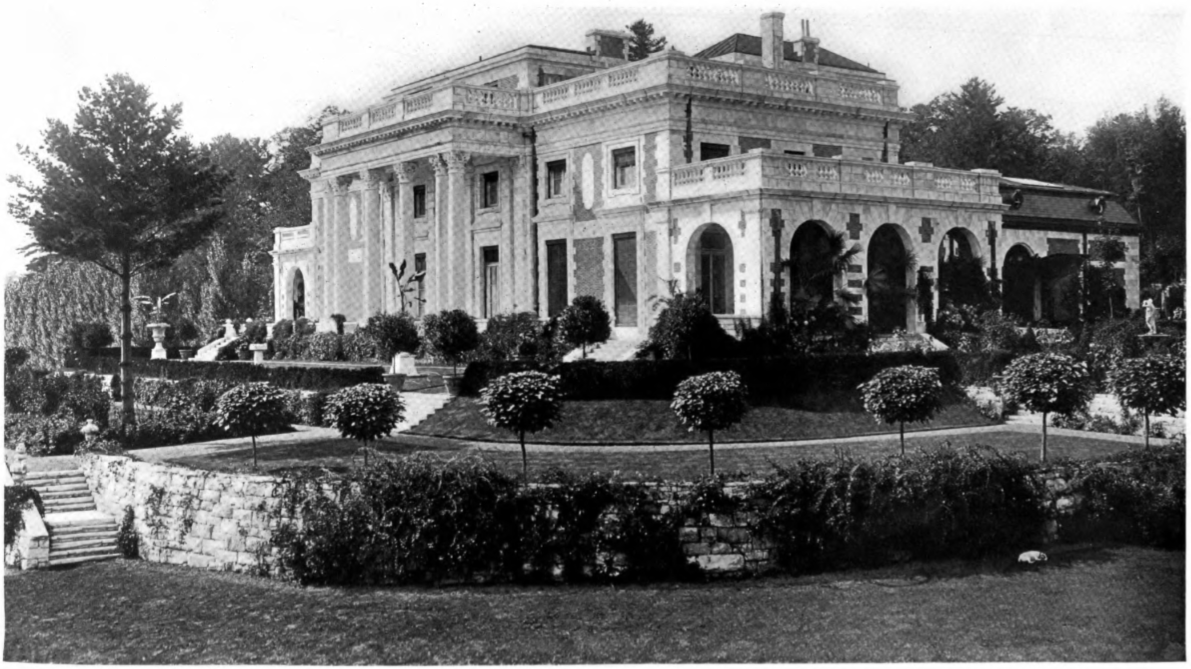 """Bellefontaine,"" the Giraud W. Foster Estate in Lenox, Massachusetts. Designed by Carrère and Hastings. Damaged badly by a fire in 1949 and heavily altered today as the Canon Ranch Spa."