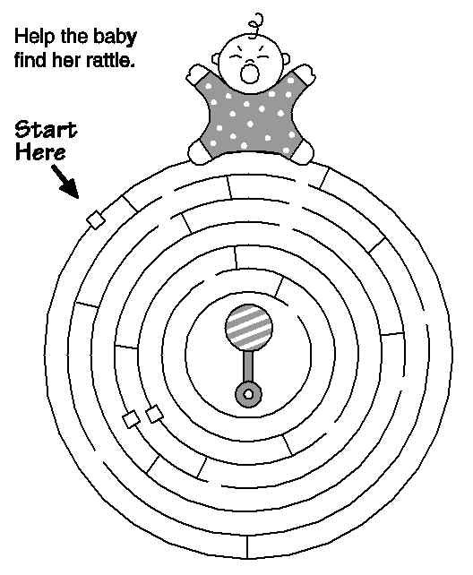 Help The Baby Find The Rattle In The Maze Free Printable