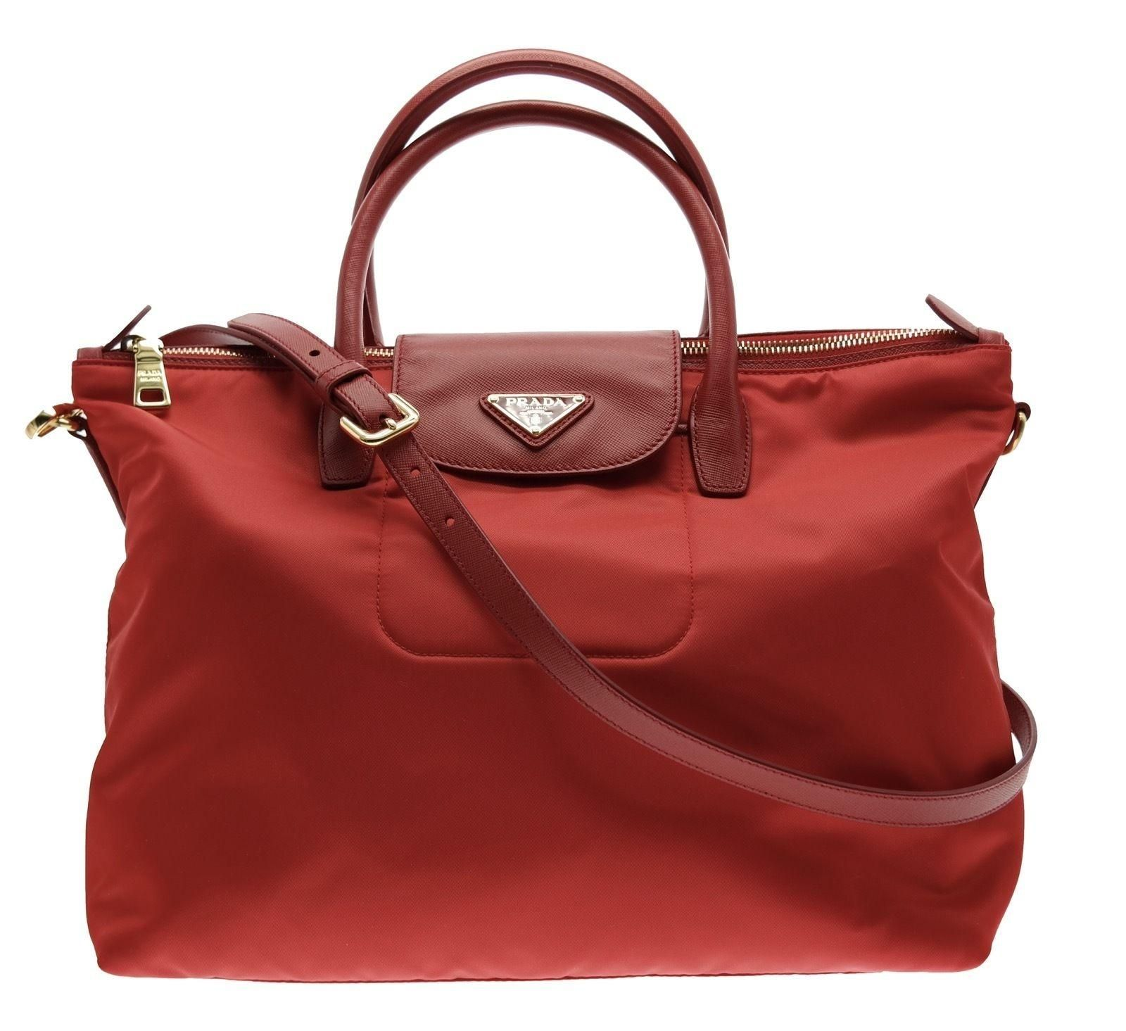 Prada Tessuto Saffiano Nylon Tote Shopping Red Bn2541 Shoulder Bag. Get one  of the hottest styles of the season! The Prada Tessuto Saffiano Nylon Tote  ... 47d83b30255d6