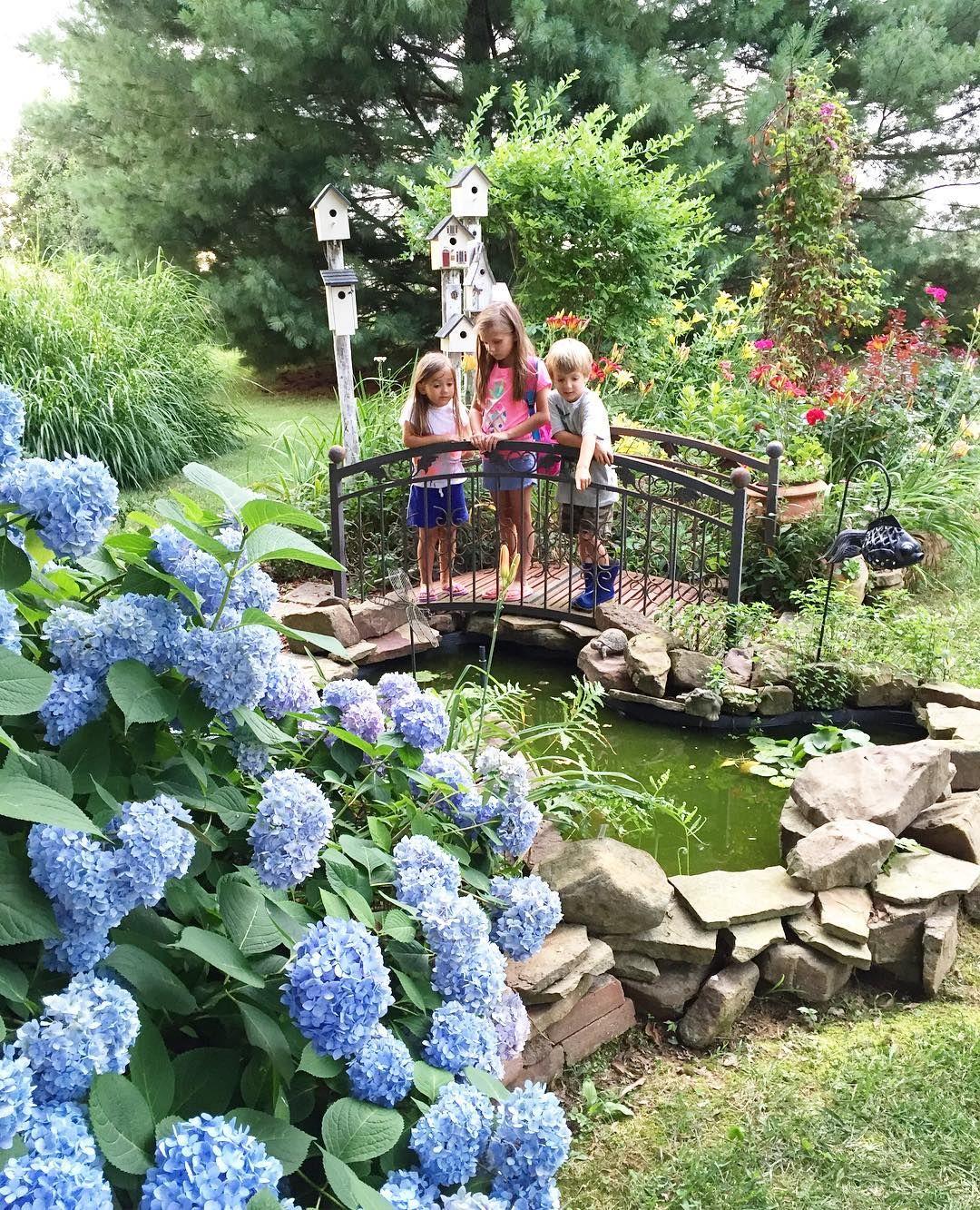 Backyard garden pond bridge hydrangeas gardening for Decoracion jardin gnomos