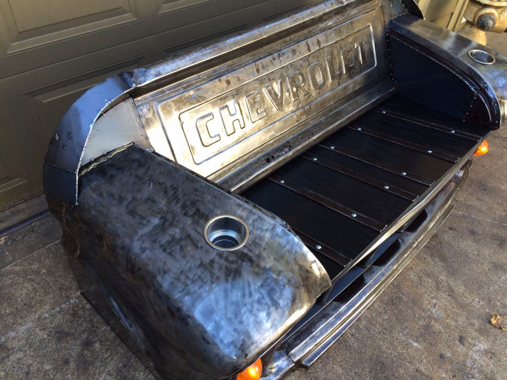 Bare steel,bench made from a 1955 Chevy truck front clip. Black ...