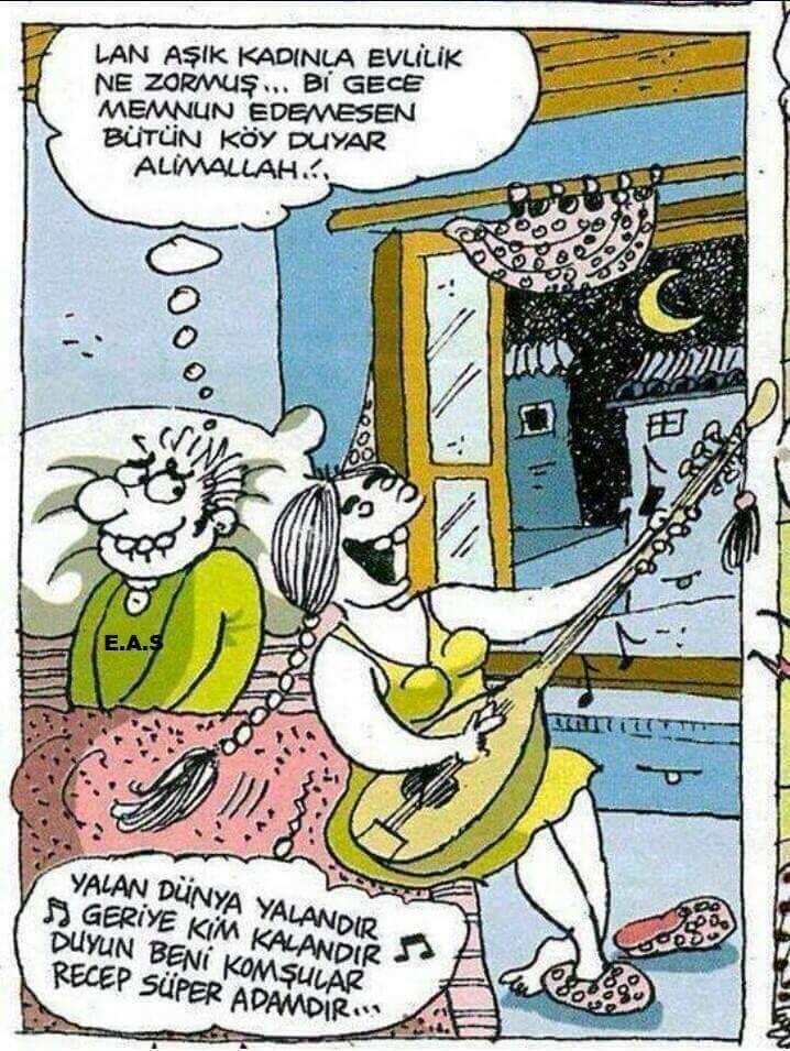 - Lan aşık kadınla evlilik ne zormuş... Bir gece memnun edemezsen bütün köy duyar Alimallah!.. + Yalan dünya yalandır, geriye kim kalandır, duyun beni komşular, Recep süper adamdır... #karikatür #mizah #matrak #komik #espri